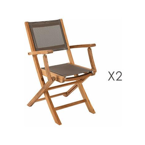 de 2 en textilène pliants teck Lot fauteuils et GARDENA vnym80PNwO