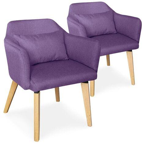 Lot de 2 fauteuils scandinaves Dantes Tissu Bleu - Bleu