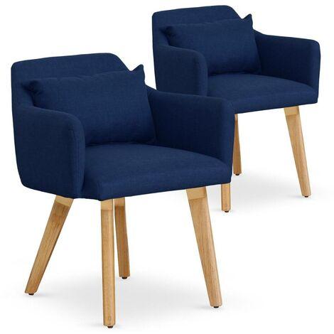 Lot de 2 fauteuils scandinaves Gybson Tissu Gris clair - Gris clair
