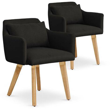 Lot de 2 fauteuils scandinaves Gybson Tissu Noir - Noir