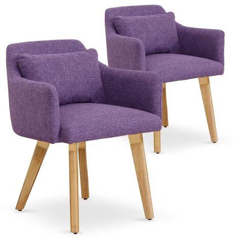 Lot de 2 fauteuils scandinaves Gybson Tissu Violet - Violet