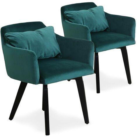Lot de 2 fauteuils scandinaves Gybson Velours Bleu - Bleu