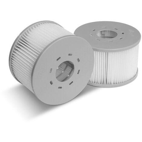 Lot de 2 filtres avec filets pour jacuzzis gonflables MSPA V2, Ø108cm – 2 cartouches filtrantes de remplacement pour jacuzzi gonflable MSPA + 2 filets de protection pour spa 2020
