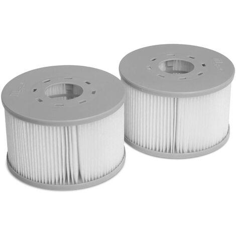 Lot de 2 filtres MSPA V2 pour jacuzzis gonflables Fjord, Kili, Camaro, Mono, Aurora et Tekapo - compatible avec SPA 2020 - 2 Cartouches filtrantes de remplacement pour jacuzzi gonflable mspa