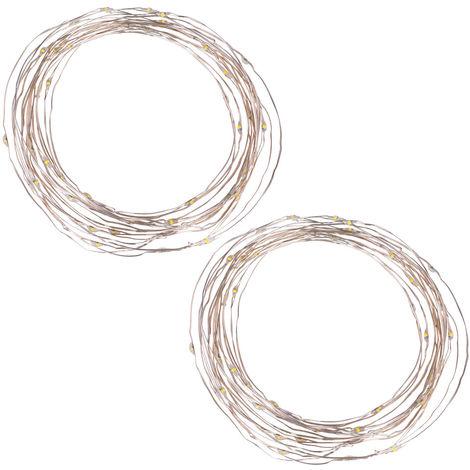 Lot de 2 guirlandes solaires LED, transparent, noir, L 690 cm