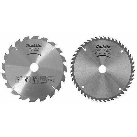 """main image of """"Lot de 2 lames carbure bois standard, Ø 235 mm, pour scies circulaires - MAKITA D-20068"""""""