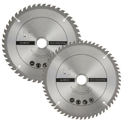 Lot de 2 lames SCHEPPACH pour scies circulaires - 48-60 dents - 254 x 30 mm - 7901200714