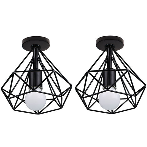 Lot de 2 Lámpara de Techo Luz Colgante Forma de Diamante Pirámide Cono de Moda Hueca Moderna Creativo Simple Ø20cm para Cafetería Restaurante Comedor Bar (Negro)
