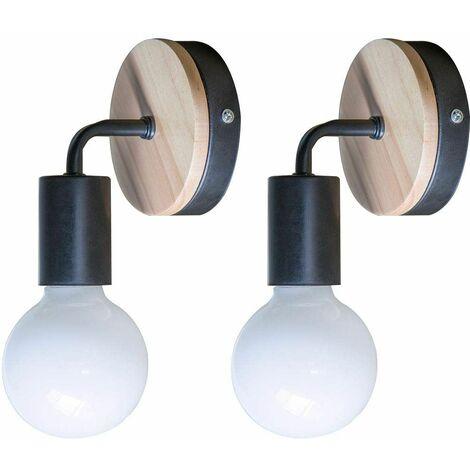 Lot De 2 Lampe Murale Noire Simplicity E27 Led Applique Murale En
