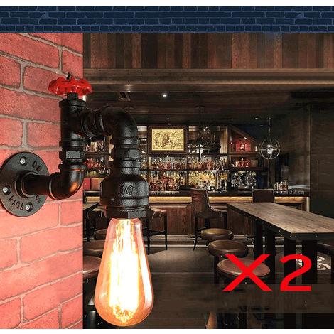 Lot de 2 lampe Murale Vintage E27 Applique Murale Industrielle ...