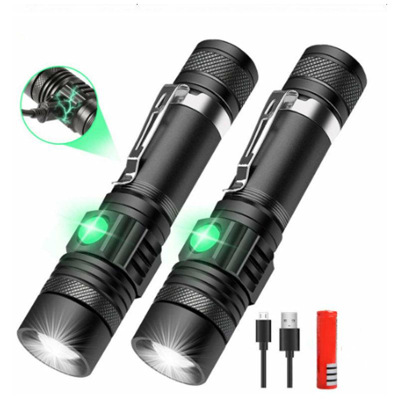 Dontodent - Lot de 2 Lampe Torche LED Rechargeable USB, Lampe de Poche 600 Lumens, IP65 Étanche, 3 Modes Eclairage, Lampe de Poche Zoomable pour