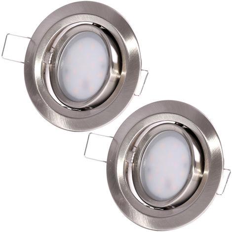 Lot de 2 lampes à encastrer LED, réglables, argent, rondes, slim