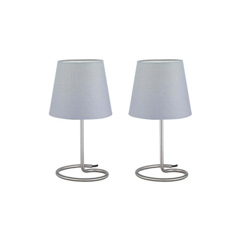 Lot de 2 lampes avec abat jour design Trio Twin Gris Métal R50272042