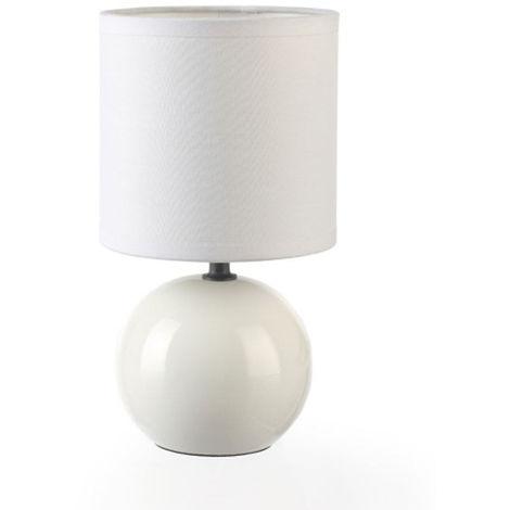 Lot de 2 Lampes céramique boule en Blanc, Hauteur 25 cm