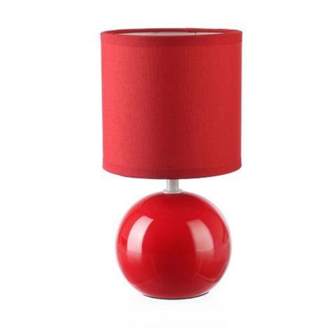 Lot de 2 Lampes céramique boule en bordeaux, Hauteur 25 cm