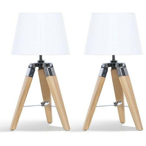 Lot de 2 lampes de chevet trépied en bois clair blanches