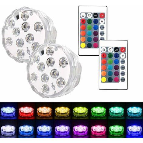 Lot de 2 Lampes de Piscine à LED Submersibles pour Aquarium, Jacuzzi, Bassin, Piscine, Base, Vase, Jardin, Mariage, fête
