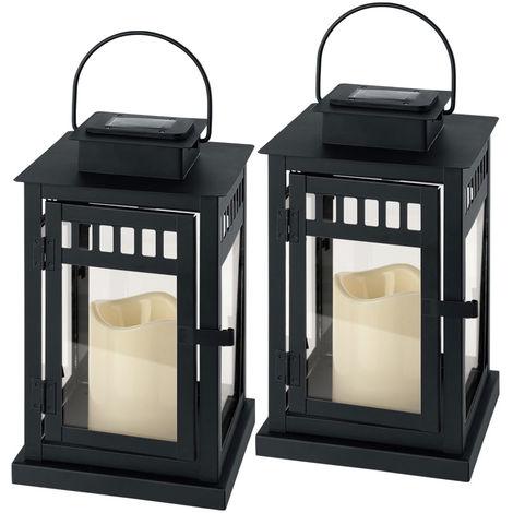 Lot de 2 lanternes solaires à LED, noires, effet vacillant, H 26 cm