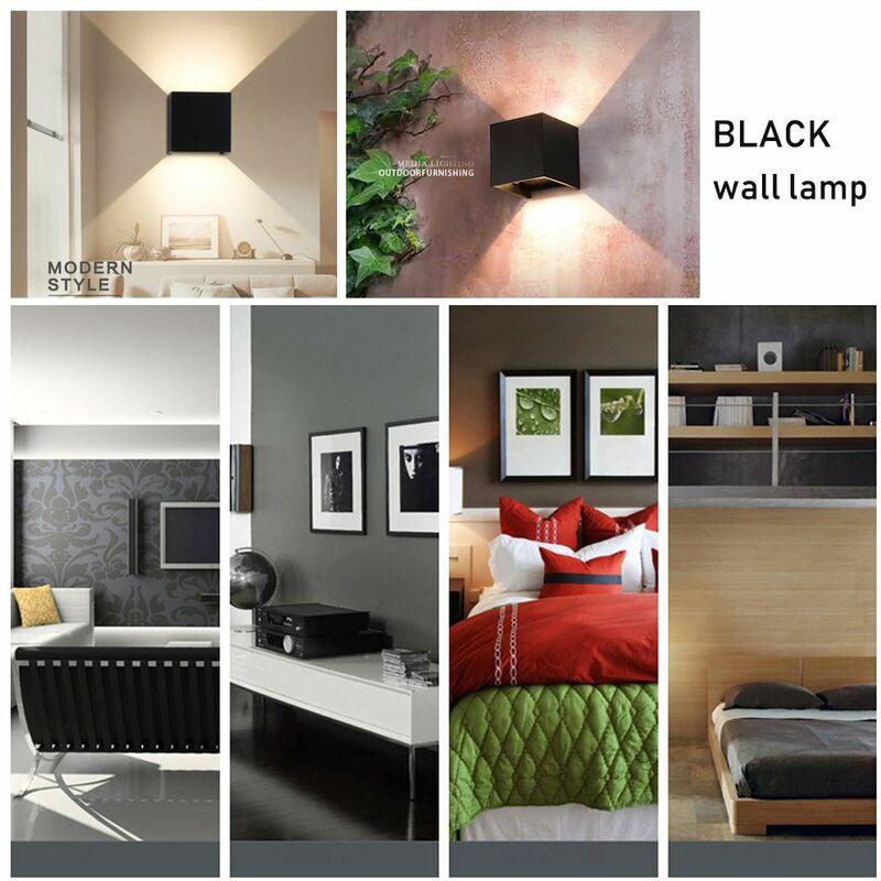 Lot de 2 Led Applique murale 7W chambre Moderne Interieur, Up and Down  Design Réglable Lampe, Aluminium luminaires applique murale led Noir pour  ...