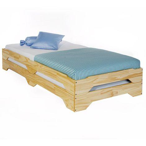 Lot de 2 lits superposables RONNY 90 x 200 cm couchage supplémentaire fonctionnel en pin massif vernis naturel