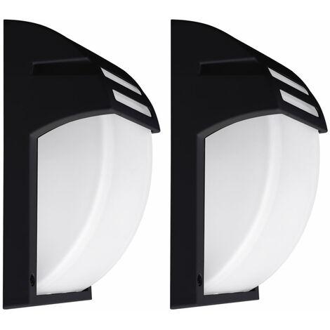 """main image of """"Lot de 2 luminaires extérieurs appliques façade noir spots de jardin ALU éclairage terrasse"""""""