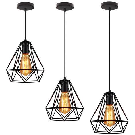 Lot de 2 Lustre suspension cage design diamnt en métal fer 20cm, luminaire abat jours retro industriel E27 Edison , Noir
