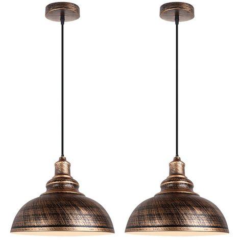 Lot de 2 Lustre Suspension Industriel Vintages Abat-jour Ø29cm E27 Luminaire en Fer Métal Câble Réglable