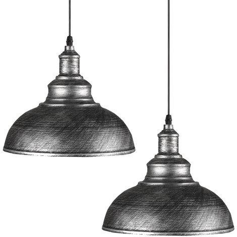 Lot de 2 Lustre Suspension Industrielle Vintage E27 290mm , Plafonniers Retro Abat-jour pour Cuisine Salle à manger Salon Restaurant,Gris argenté