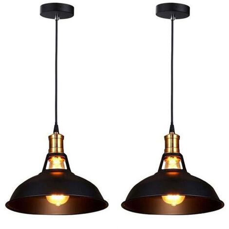 Lot de 2 lustre suspension industrielle vintage e27 lampe plafonniers retro abat jour pour - Plafonnier pour salle a manger ...