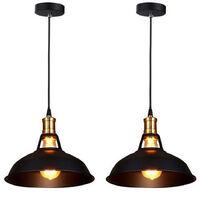 Lot de 2 Lustre Suspension Industrielle Vintage E27 Lampe Plafonniers Retro Abat-jour pour Cuisine Salle à manger Salon Chambre Restaurant