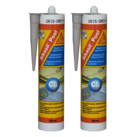 Lot de 2 mastic silicone SIKA Sikasil Pool - Joint pour piscine gris - 300ml - Gris
