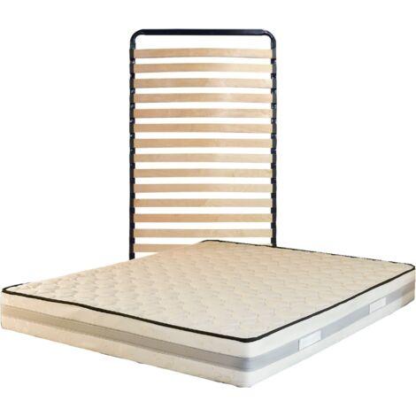 """main image of """"Lot de 2 Matelas 90x200 + Sommiers + pieds + Protèges Matelas Offerts Mémoire de Forme - 23 cm - Trés Ferme"""""""
