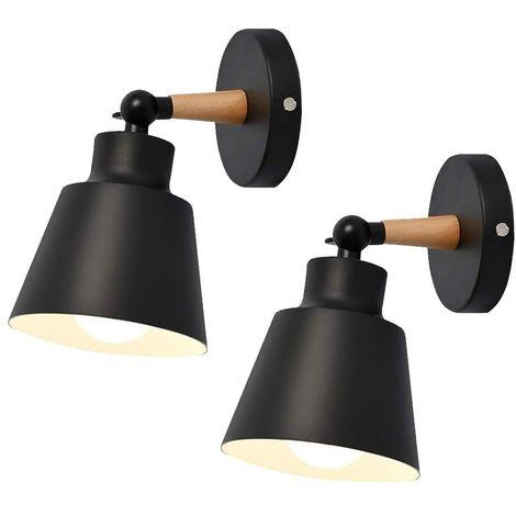 """main image of """"Lot de 2 Moderne Applique Murale Industrielle en Métal Luminaires E27 Edison Loft Lampe pour Café Bar Couloir Salle à Manger Salon Chambre (Noir)"""""""
