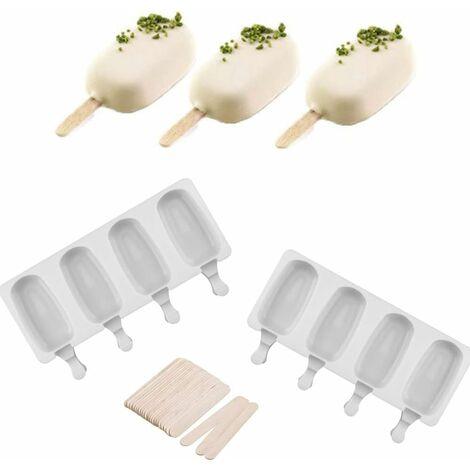 Lot de 2 moules en silicone à 4 cavités, réutilisables - pour jus de fruits, crème glacée - Forme ovale classique, anti-adhésif, avec 50 bâtonnets en bois