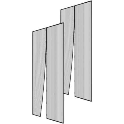Lot de 2 moustiquaires magnétiques H220 cm x L 100 cm noir - Noir