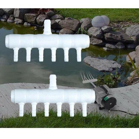 Lot de 2 Multi Diviseurs Plastique 6 Sorties Pour Aérateur & Pompe à Air Bassin & Aquarium - Blanc