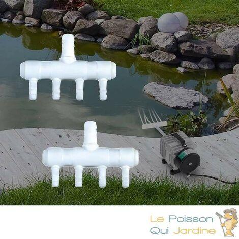 Lot de 2 Multi Diviseurs Plastiques 4 Sorties Pour Aérateur & Pompe à Air Bassin & Aquarium - Blanc