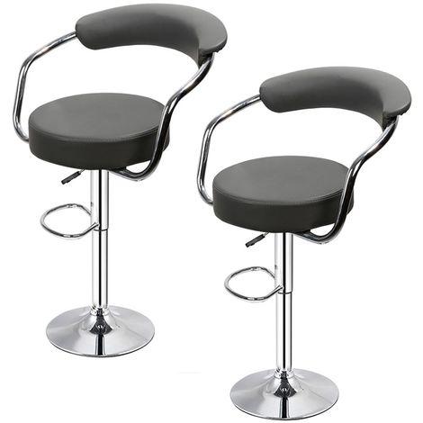 Lot de 2 Noir Tabourets de bar de cuisine imitation cuir chaise réglable en hauteur 55 à 75 cm