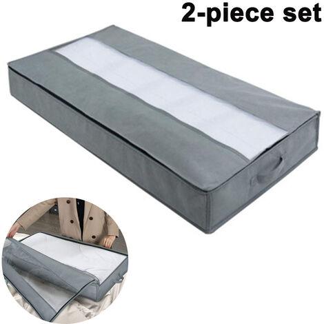Lot de 2 organisateurs de sac de rangement sous le lit, avec poignées haute densité et 1 fenêtre transparente, rangement de couette en tissu Oxford robuste ---- gris clair