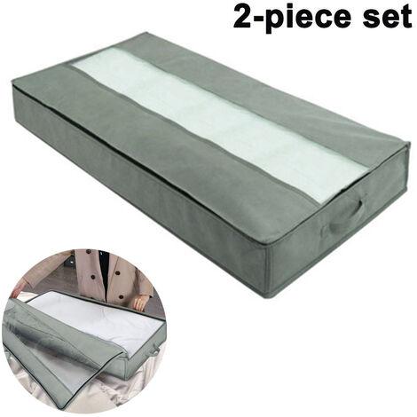 Lot de 2 organisateurs de sac de rangement sous le lit, avec poignées haute densité et 1 fenêtre transparente, rangement pour couette en tissu Oxford robuste ---- gris foncé