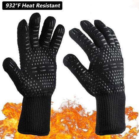 Lot de 2 paires de gants de barbecue résistants à la chaleur 932°F en silicone antidérapants