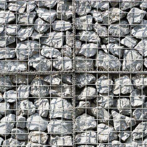 Lot de 2 Paniers de Gabions Argentés en Acier Galvanisé pour Projets d'Aménagement Extérieur, Murs de Soutènement, Clôture de Jardin. 100 x 80 x 30cm - Argent