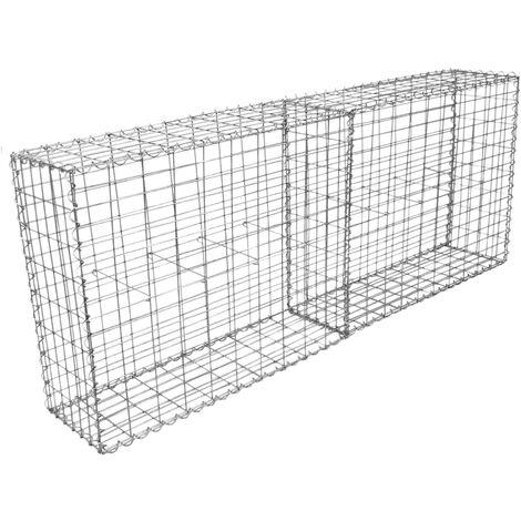 Lot de 2 Paniers de Gabions Argentés en Acier Galvanisé pour Projets d'Aménagement Extérieur, Murs de Soutènement, Clôture de Jardin. 100 x 95 x 30cm - Argent