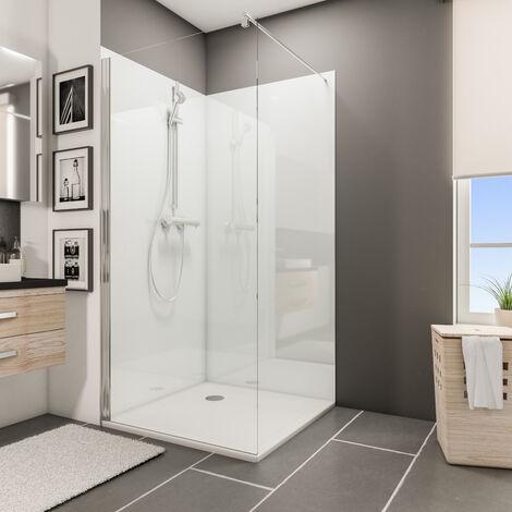Lot de 2 panneaux muraux 100 x 210 cm, revêtement pour douche et salle de bains, DécoDesign BRIO, Schulte, Beige brillant