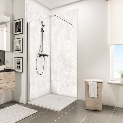 Lot de 2 panneaux muraux 100 x 210 cm, revêtement pour douche et salle de bains, DécoDesign DÉCOR, Schulte, Beige antico
