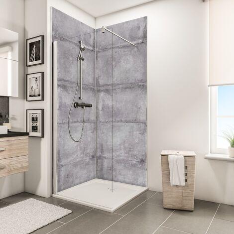 Lot de 2 panneaux muraux 100 x 210 cm, revêtement pour douche et salle de bains, DécoDesign DÉCOR, Schulte, Crépi gris