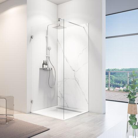 Lot de 2 panneaux muraux 100 x 210 cm, revêtement pour douche et salle de bains, DécoDesign SOFTTOUCH, Schulte, Béton ciré