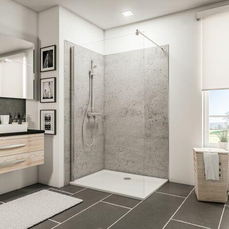 Lot de 2 panneaux muraux 120 x 100 x 210 cm, revêtement pour douche et salle de bains, DécoDesign DÉCOR, Schulte, Ardoise
