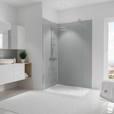 Lot de 2 panneaux muraux 120 x 90 x 210 cm, revêtement pour douche et salle de bains, DécoDesign COULEUR, Schulte, Blanc