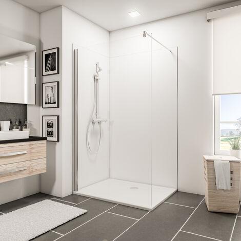 Lot de 2 panneaux muraux 90 x 120 x 210 cm, revêtement pour douche et salle de bains, DécoDesign COULEUR, Schulte, gris-argenté - Gris-argenté